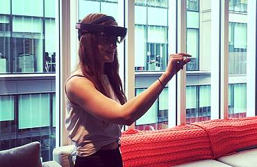 Rachel Slater using the HoloLens at the Microsoft Headquarters on Friday 8 September 2017.